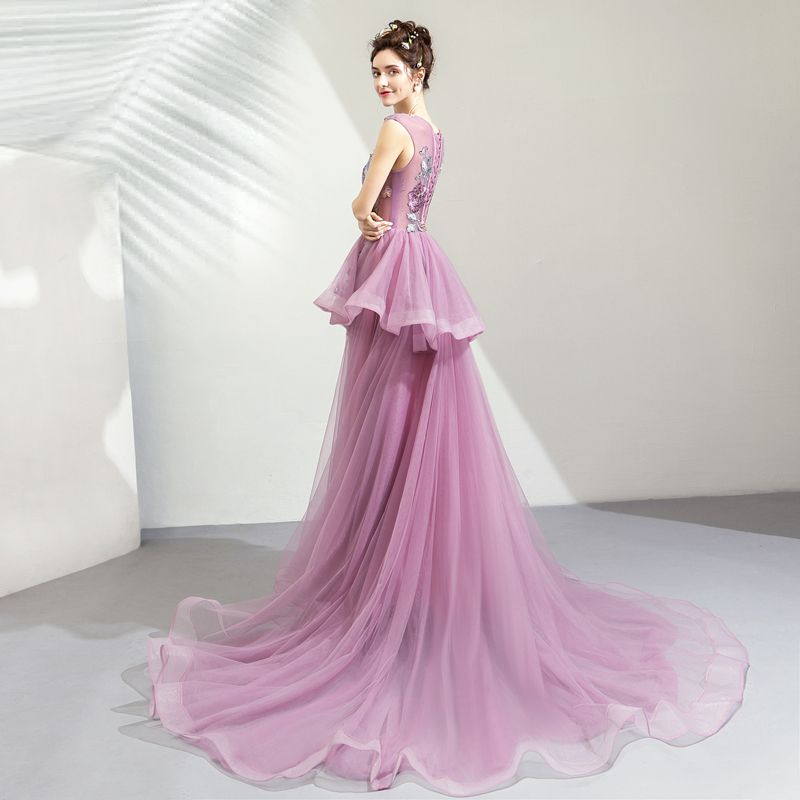 Chic / Beautiful Purple Prom Dresses 2019 A-Line / Princess Scoop Neck Appliques Lace Rhinestone Sleeveless Court Train Formal Dresses