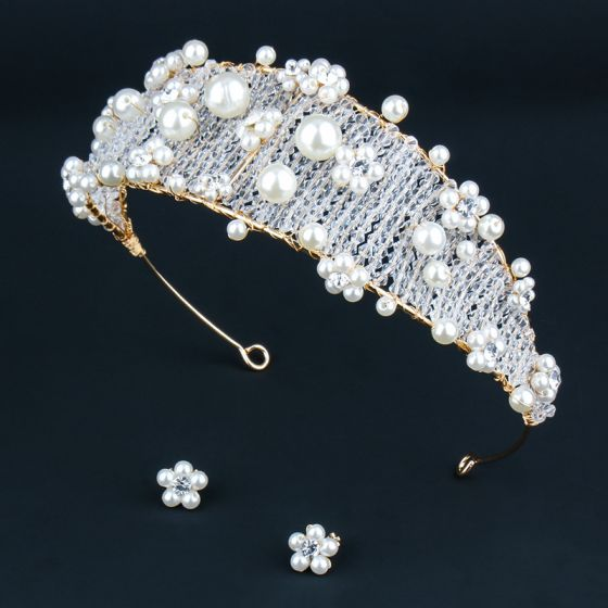 Chic / Beautiful Gold Tiara Earrings Bridal Jewelry 2020 Alloy Pearl Crystal Wedding Accessories