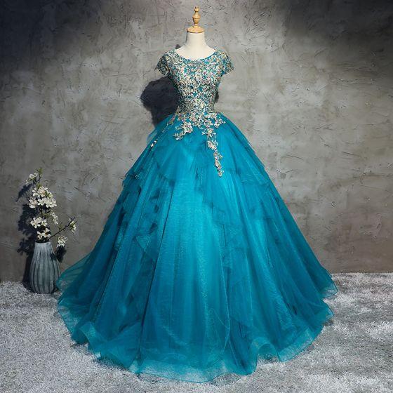 Clásico Elegantes Azul Vestidos de gala 2017 A-Line / Princess De Encaje Tul U-escote Apliques Rebordear Noche Vestidos Formales