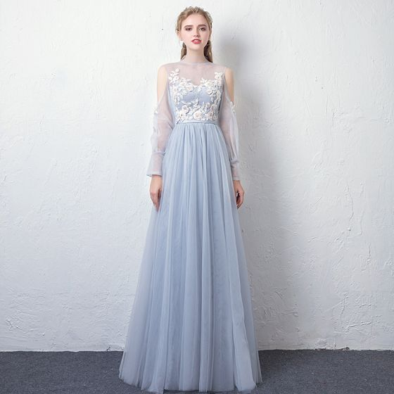 Moda Azul Cielo Transparentes Vestidos de noche 2019 A-Line / Princess Cuello Alto Hinchado Manga Larga Apliques Con Encaje Cinturón Largos Ruffle Sin Espalda Vestidos Formales