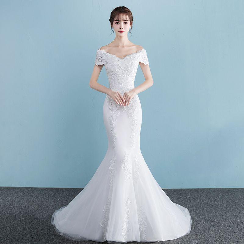 Chic / Beautiful Church Hall Wedding Dresses 2017 White Trumpet / Mermaid Court Train V-Neck Short Sleeve Backless Lace Appliques Rhinestone