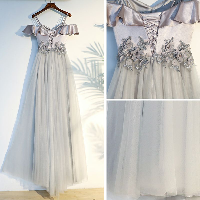 Chic / Beautiful Appliques Prom Dresses 2017 A-Line / Princess Crossed Straps Flower Spaghetti Straps Short Sleeve Tea-length Prom