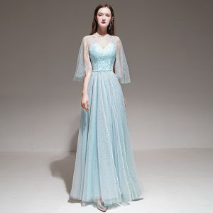 Romantic Sky Blue Evening Dresses  With Shawl 2020 A-Line / Princess Shoulders Sleeveless Beading Sash Floor-Length / Long Ruffle Backless Formal Dresses