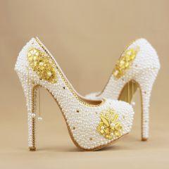 Mode Weiß Perlenstickerei Brautschuhe 2019 Perle Quaste Strass 14 cm Stilettos Runde Zeh Hochzeit Pumps