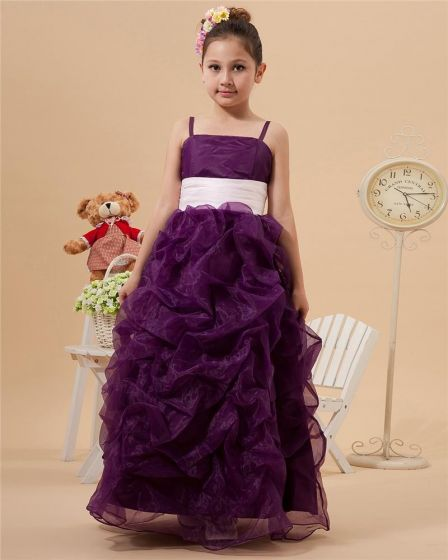 Cute Bead Jewel Ankle-Length Satin Organza Ball Gown Flower Girl Dress