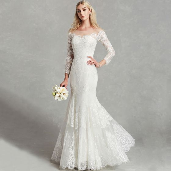 Amazing / Unique Sexy White Wedding Dresses 2020 Trumpet / Mermaid U-Neck 3D Lace Floor-Length / Long Long Sleeve Handmade  Embroidered Wedding