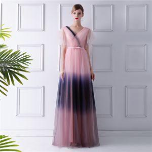 Mode Rosa Farbverlauf Marineblau Abendkleider 2019 A Linie V-Ausschnitt Kurze Ärmel Schleife Stoffgürtel Lange Rüschen Rückenfreies Festliche Kleider