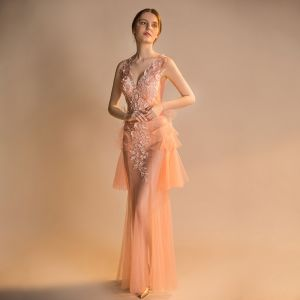 Sexy Orange See-through Summer Evening Dresses  2018 Trumpet / Mermaid V-Neck Sleeveless Appliques Flower Sequins Beading Floor-Length / Long Ruffle Backless Formal Dresses