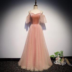 Snygga / Fina Pärla Rosa Aftonklänningar 2019 Prinsessa Spaghettiband Korta ärm Glittriga / Glitter Tyll Långa Ruffle Halterneck Formella Klänningar