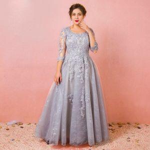 008c9b6d98 Chic   Beautiful Grey Plus Size Evening Dresses 2018 A-Line   Princess Tulle  U