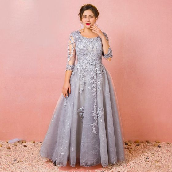 Chic Beautiful Grey Plus Size Evening Dresses 2018 A Line