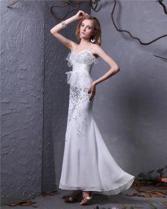 Sweetheart Beading Ankle Length Chiffon Sheath Wedding Dress