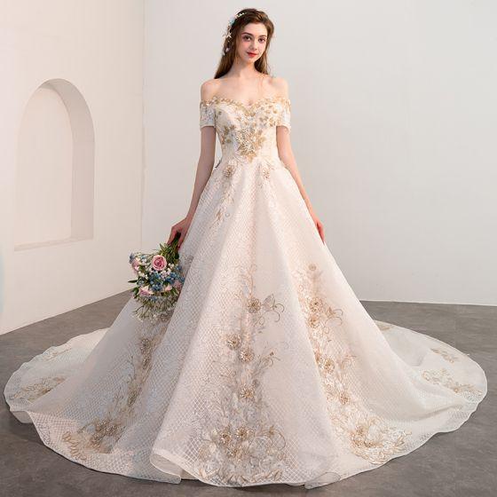 Elegant Champagne Wedding Dresses 2018 A-