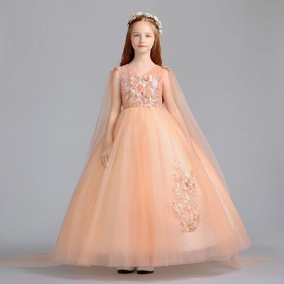 Chic / Beautiful Orange Flower Girl Dresses 2019 A-Line / Princess V-Neck Sleeveless Appliques Lace Pearl Watteau Train Ruffle Wedding Party Dresses