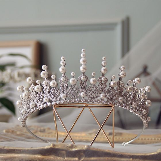 Luxury / Gorgeous Silver Tiara Wedding Accessories 2019 Alloy Zircon Pearl Bridal Hair Accessories