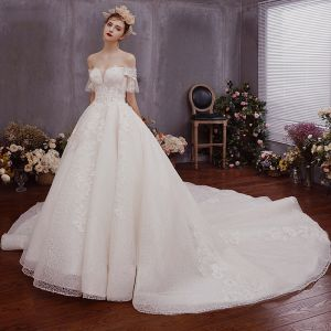 Chic / Beautiful Champagne Lace Wedding Dresses 2019 A-Line / Princess Off-The-Shoulder Bell sleeves Backless Bow Appliques Lace Beading Chapel Train