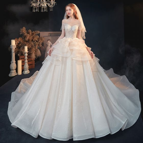 Luxury / Gorgeous Champagne See-through Bridal Wedding Dresses 2020 A-Line / Princess Scoop Neck Short Sleeve Backless Beading Sequins Glitter Tulle Cathedral Train Ruffle