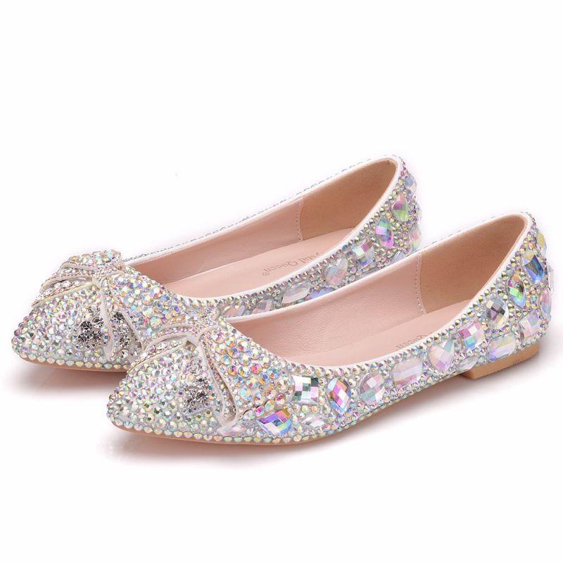 Crystal Rhinestone Pointed Toe Flat Wedding