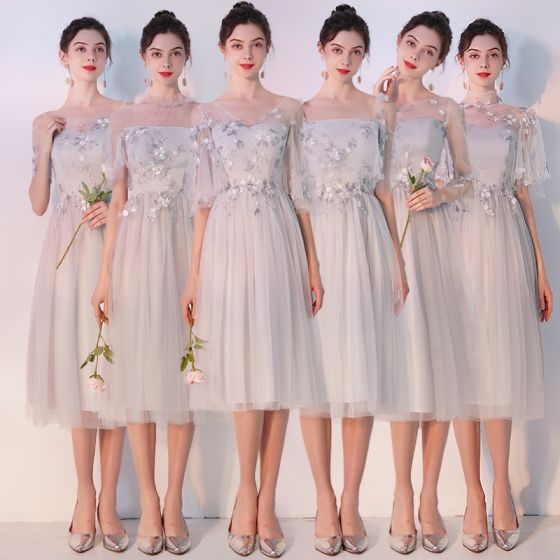 Elegant Grey See-through Bridesmaid Dresses 2019 A-Line / Princess Appliques Lace Tea-length Ruffle Backless Wedding Party Dresses