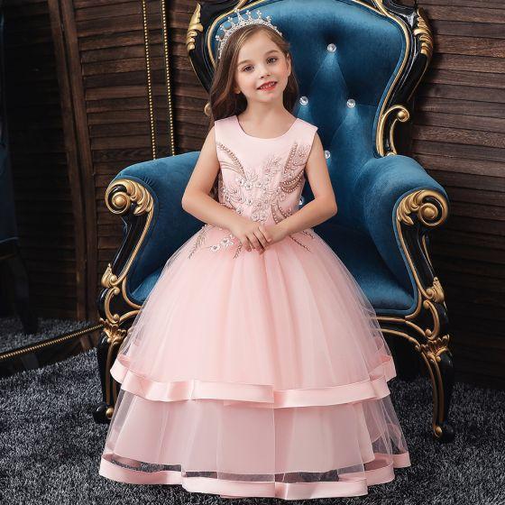 Chic / Belle Anniversaire Rougissant Rose Robe Ceremonie Fille 2020 Robe Boule Encolure Dégagée Sans Manches Appliques En Dentelle Perle Longue Volants