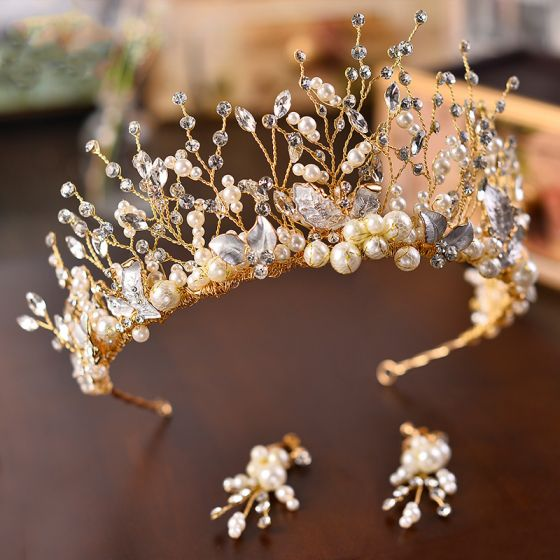 Mooie / Prachtige Goud Bruidssieraden Accessoires 2020 Metaal Kralen Parel Rhinestone Tiara Oorbellen