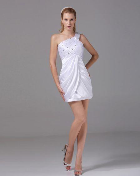 Vestido De Las Mujeres De Seda Del Muslo Abalorios Imitación Plisado Coctel Un Hombro