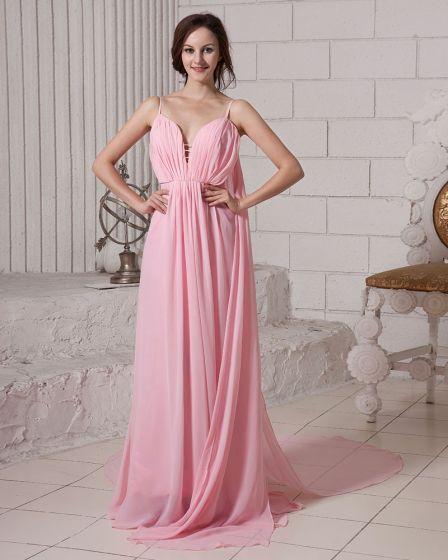 Elegant Solid Ruffle Deep V Neck Sleeveless Zipper Chiffon Evening Dress