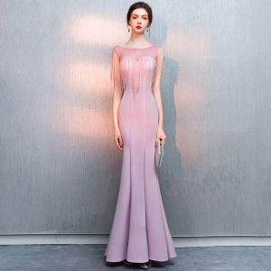 Charming Blushing Pink Evening Dresses  2019 Trumpet / Mermaid Beading Tassel Scoop Neck Sleeveless Floor-Length / Long Formal Dresses