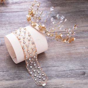 Piękne Złote Tiara Kolczyki Naszyjnik Biżuteria Ślubna 2019 Metal Kryształ Perła Rhinestone Ślub Akcesoria