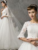 2015 A-linie Prinzessin Schultern 1/2 Ärmel Bestickte Brautkleid