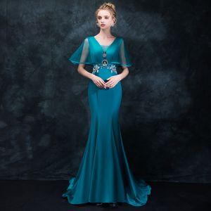 Elegante Tintenblau Abendkleider 2018 Mermaid V-Ausschnitt Kurze Ärmel Strass Kristall Stoffgürtel Sweep / Pinsel Zug Rüschen Rückenfreies Festliche Kleider