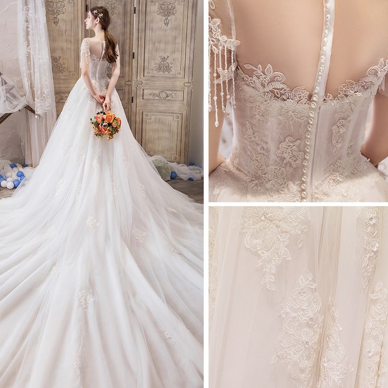 Elegant Ivory See-through Wedding Dresses 2019 A-Line / Princess Scoop Neck Short Sleeve Beading Tassel Appliques Lace Cathedral Train Ruffle