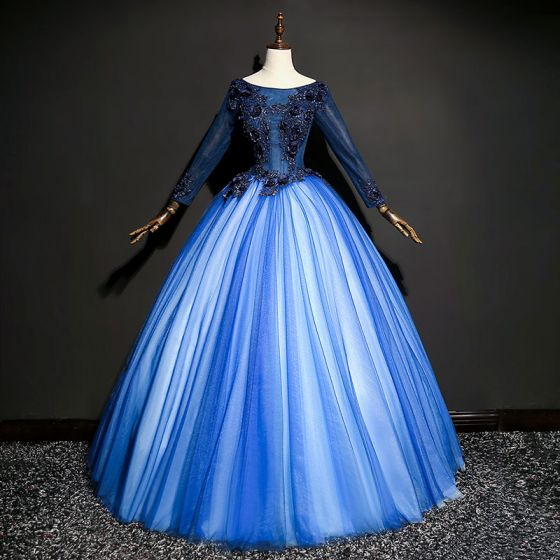 Chic / Beautiful Royal Blue Prom Dresses 2017 Tulle Beading Appliques Ball Gown Prom Backless Formal Dresses