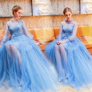Moderne / Mode Bleu Robe De Soirée 2019 Princesse Col Haut Perle Appliques Paillettes En Dentelle Fleur Manches Longues Dos Nu Longue Robe De Ceremonie