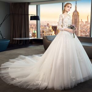 Modest / Simple White Wedding Dresses 2019 A-Line / Princess Scoop Neck See-through Lace Flower 3/4 Sleeve Backless Cathedral Train