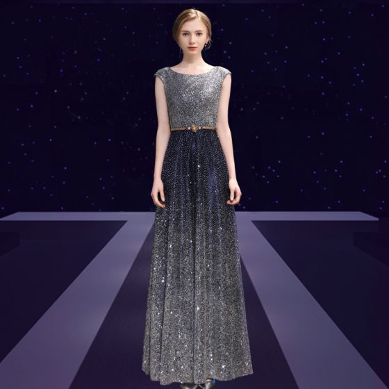 Sparkly Starry Sky Evening Dresses  2018 A-Line / Princess Glitter Metal Sash Scoop Neck Backless Sleeveless Ankle Length Formal Dresses