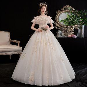 Erschwinglich Champagner Brautkleider / Hochzeitskleider 2020 Prinzessin Herz-Ausschnitt Abnehmbar Kurze Ärmel Rückenfreies Glanz Tülle Perlenstickerei Lange Rüschen