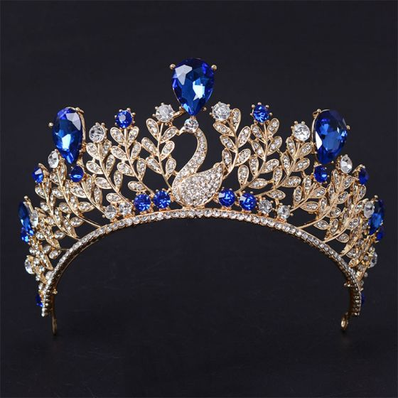Chic / Beautiful 2017 Red Royal Blue Gold Silver Crystal Rhinestone Metal Tiara Bridal Jewelry