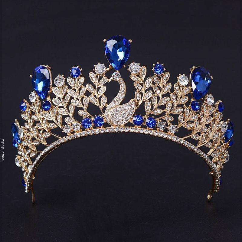 Chic / Beautiful 2017 Red Royal Blue Gold Silver Crystal Rhinestone Metal Tiara Bridal Jewelry