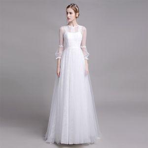 Modest / Simple White Beach Wedding Dresses 2019 A-Line / Princess Scoop Neck Pearl Lace Flower 3/4 Sleeve Floor-Length / Long