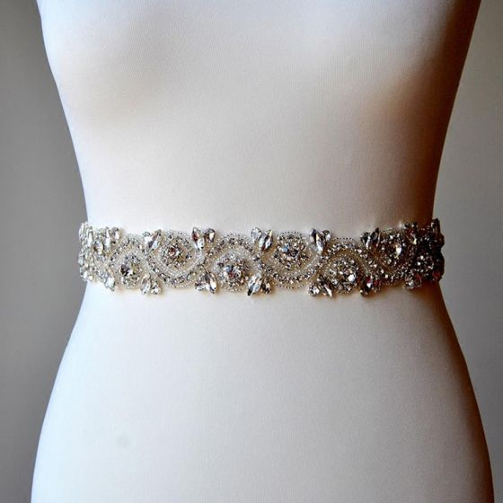 Fashion High-end Ivory Sash 2020 Satin Metal Beading Rhinestone Bridal Wedding Prom Accessories