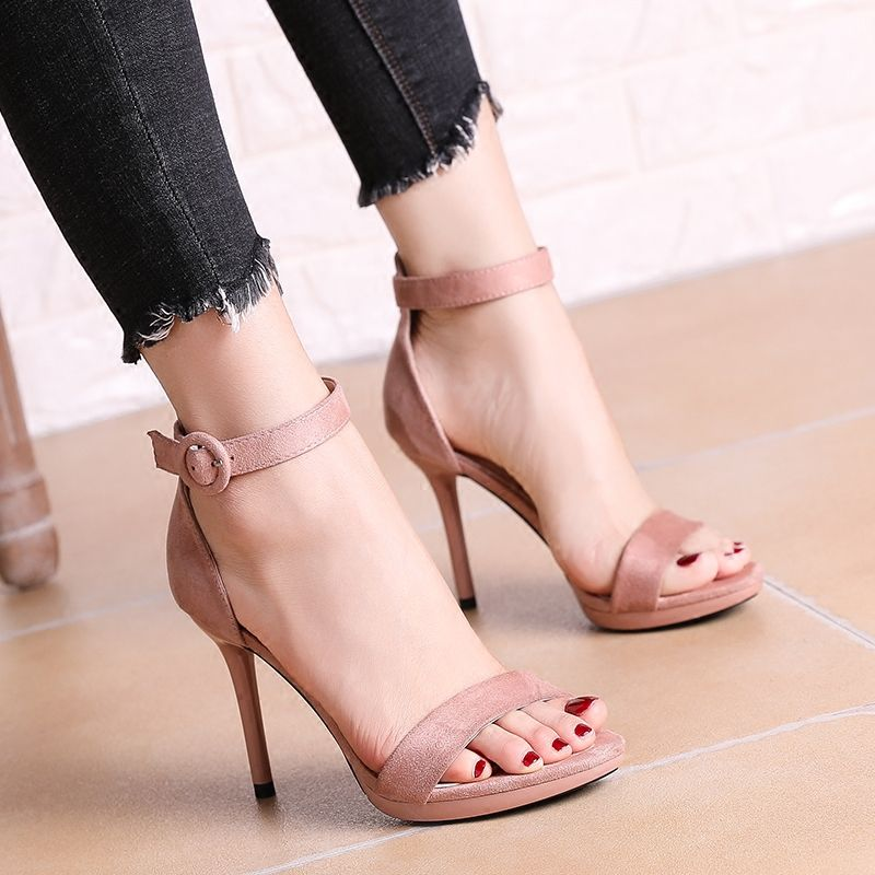 Chic / Beautiful Cocktail Party Womens Shoes 2017 PU Buckle High Heels Open / Peep Toe