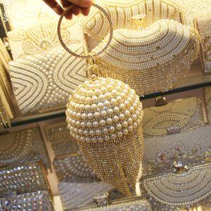 Fashion Gold Round Clutch Bags 2020 Metal Beading Pearl Rhinestone Tassel