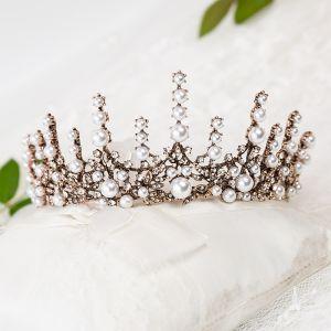 Vintage Bronzen Bruids Haaraccessoires 2020 Metaal Rhinestone Parel Tiara Huwelijk Accessoires