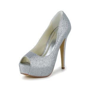 Sprankelende Zilveren Bruidsschoenen Glitter Stiletto Plateau Pumps