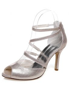 Sparkly Wedding Sandals With High Heel Strappy Bridal Shoes Stiletto Heels With Ankle Strap