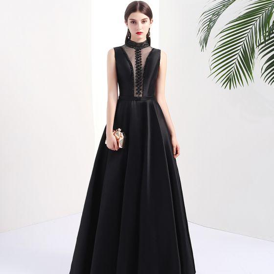 Stylowe / Modne Czarne Przebili Sukienki Wieczorowe 2017 Princessa Wysokiej Szyi Bez Rękawów Frezowanie Perła Długie Bez Pleców Sukienki Wizytowe