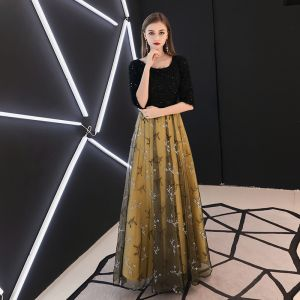 Chic / Beautiful Black Evening Dresses  2019 A-Line / Princess Scoop Neck 1/2 Sleeves Appliques Lace Glitter Sequins Bow Sash Floor-Length / Long Ruffle Formal Dresses