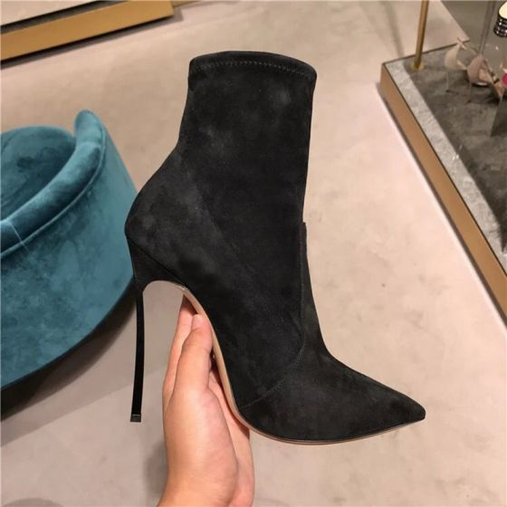 Modest / Simple Black Casual Suede Womens Boots 2019 Polyester 12 cm Stiletto Heels Pointed Toe Boots