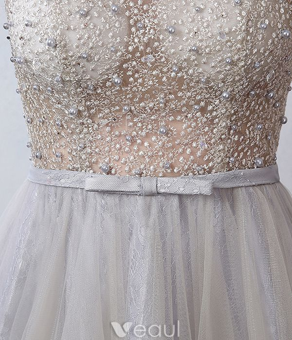 Glamoureuze Avondjurken 2016 A-lijn Kralen Doorboorde Ontwerp Grijze Kant Tule Ruglooze Dress